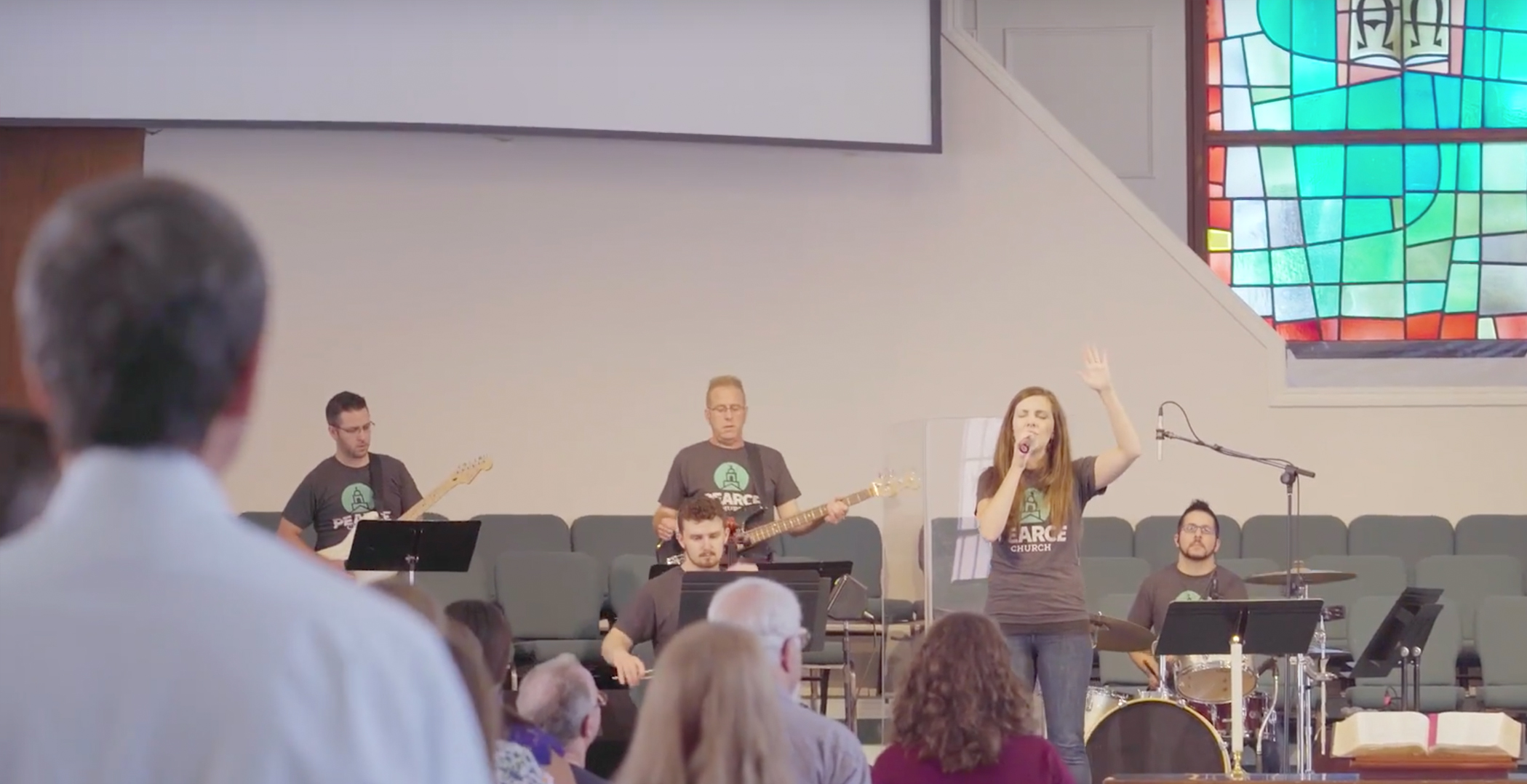Worship team during worship at the contemporary service at Pearce Church in Rochester, NY