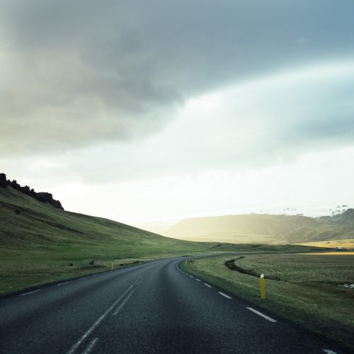Looking towards the distant horizon along a winding road